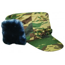 Cold-proof cap with queue natural fur